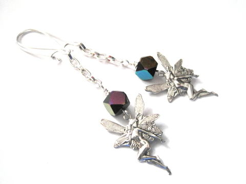 Goth,Fairy,Dangle,Earrings,Goth Fairy Dangle Earrings, gothic jewelry, fairy jewelry, handmade jewelry