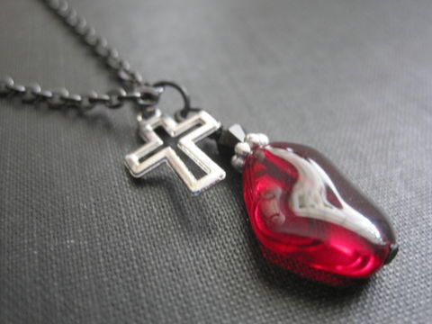 Red,Glass,Cross,Goth,Necklace,Red Glass Cross Goth Necklace, black crystal, open cross, gothic jewelry. handmade jewelry