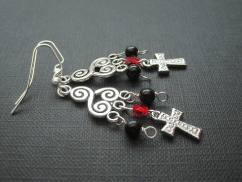 Cross,Chandelier,Gothic,Dangle,Earrings,Cross Chandelier Gothic Dangle Earrings, handmade jewelry