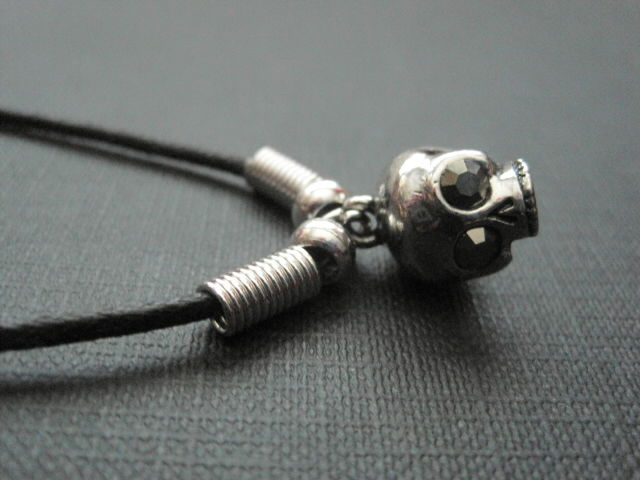 3-D Mini Skull Cord Gothic Necklace  - product images  of
