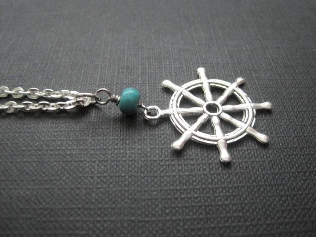 Ships Wheel Nautical Necklace - product images  of