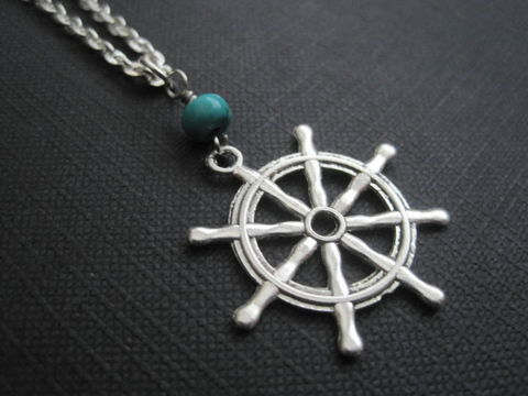 Ships,Wheel,Nautical,Necklace,Ships Wheel Nautical Necklace, captain's wheel necklace, turquoise gemstone, spoked wheel, maritime symbol, sailors, fishermen