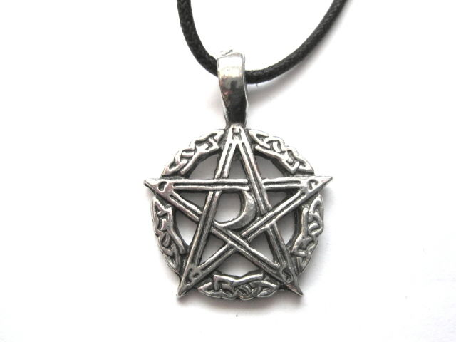 Pentacle Crescent Moon Cord Necklace - product images  of