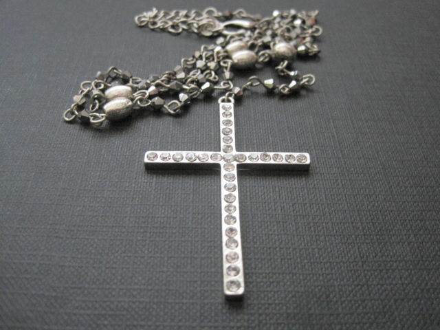 Rosary Bead Cross Bling Necklace - product images  of