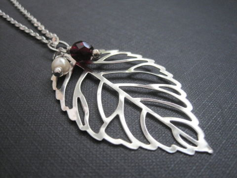 Filigree,Big,Leaf,Necklace,Filigree Big Leaf Necklace, leaf, autumn necklace, fall leaf, filigree leaf, pearl, cranberry bead, woodland, forest, handmade jewelry