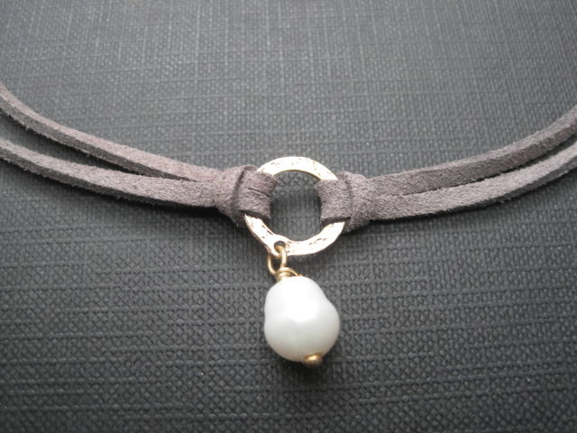 Freshwater Pearl Suede Choker Wrap Necklace  - product images  of