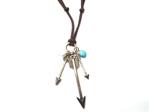 Multi,Arrow,Suede,Cord,Necklace,Multi Arrow Suede Cord Necklace, sagittarius, arrow, brown suede, archer necklace, unisex jewelry
