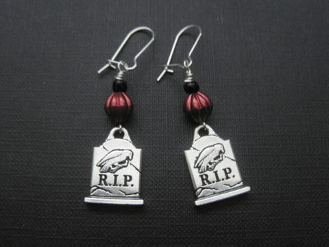 RIP,Gravestone,Nevermore,Gothic,Earrings,RIP Gravestone Nevermore Gothic Earrings, Halloween, raven, crow, tombstone, Gothic, pumpkin, graveyard, cemetery