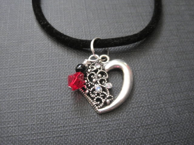Victorian Sparkle Heart Cord Necklace - product images  of