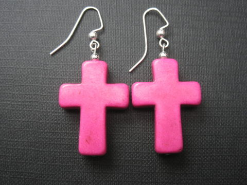 Howlite,Cross,Dangle,Earrings,Howlite Cross Earrings, synthetic turquoise, pink howlite, magnesite, handmade jewelry