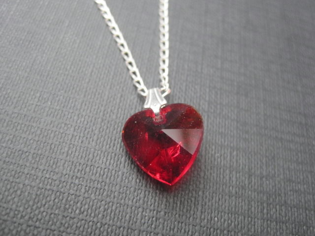 Sterling Silver Red Crystal Heart Necklace - product images  of