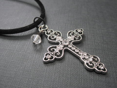 Gothic,Sparkle,Cross,Cord,Necklace,Gothic Sparkle Cross Cord Necklace, handmade jewelry, handmade necklace. Goth jewelry