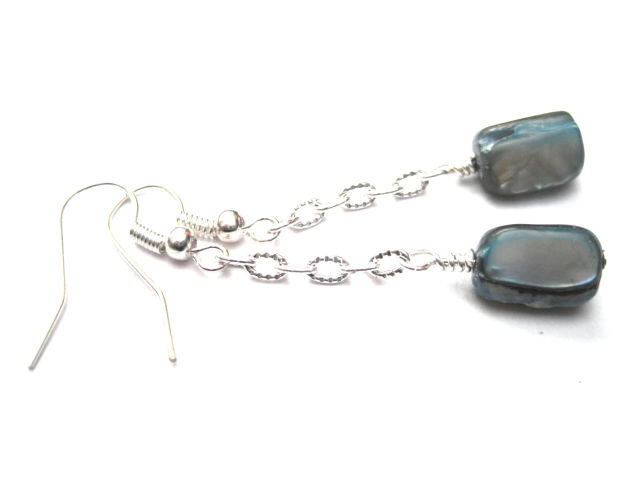 Blue Turquoise Mother of Pearl Chain Dangle Earrings - product images  of