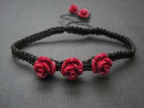 Red,Rose,Macrame,Bracelet,Red Rose Macrame Bracelet