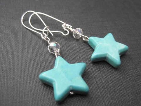 Magnesite,Star,Dangle,Earrings,Magnesite Star Dangle Earrings, star, howlite, synthetic turquoise, handmade jewelry