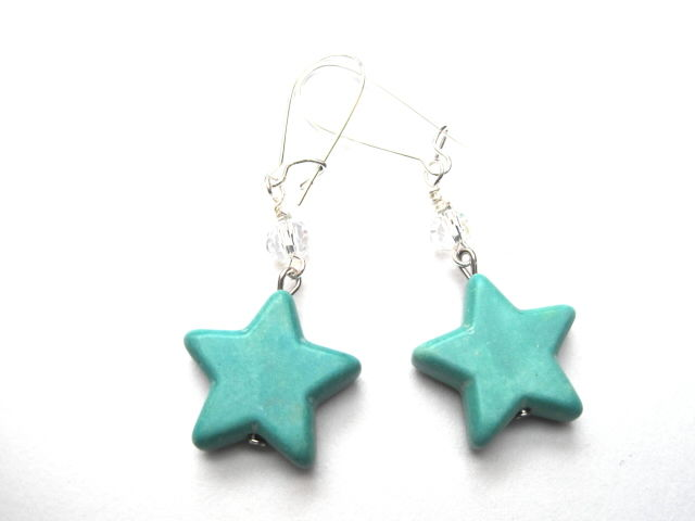 Magnesite Star Dangle Earrings - product images  of