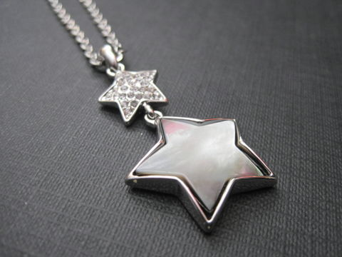 Double,Star,Shell,Necklace,Double Star Shell Necklace, black lip shell, glass rhinestone, celestial jewelry, stars