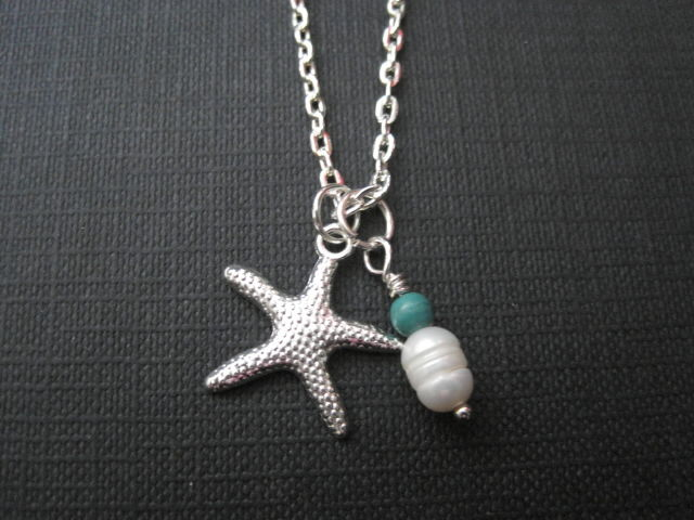 Starfish Necklace, Pearl Turquoise Magnesite Beach Necklace - product images  of