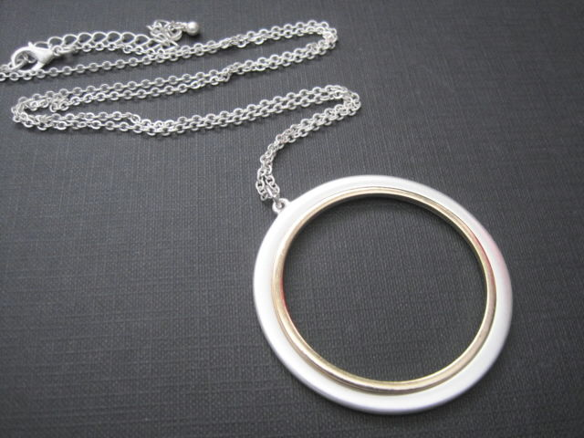 Eternity Two Tone Circle Long Necklace - product images  of