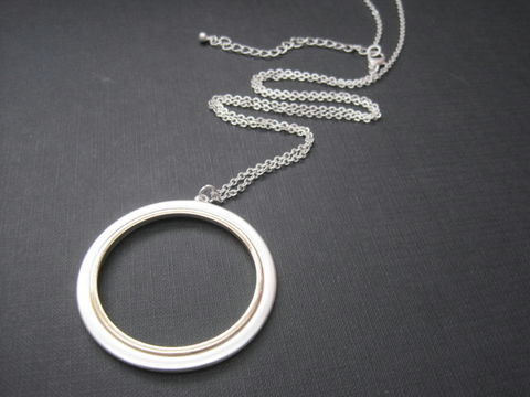 Eternity,Two,Tone,Circle,Long,Necklace,Eternity Two Tone Circle Long Necklace,  circle necklace, infinity, open circle, ring, geometric, good karma necklace