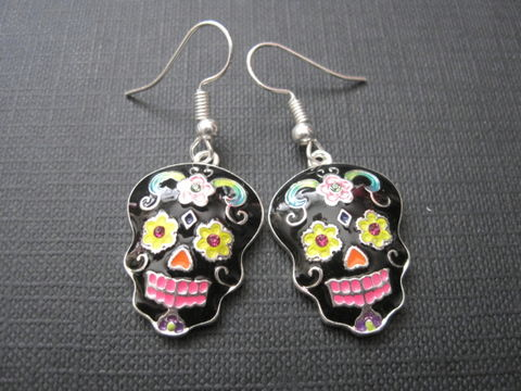 Sugar,Skull,Black,Goth,Dangle,Earrings,Sugar Skull Black Goth Dangle Earrings, enameled, dia de los muerto, day of the dead