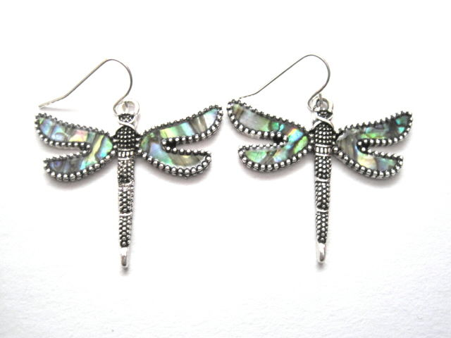 Dragonfly Abalone Dangle Earrings - product images  of