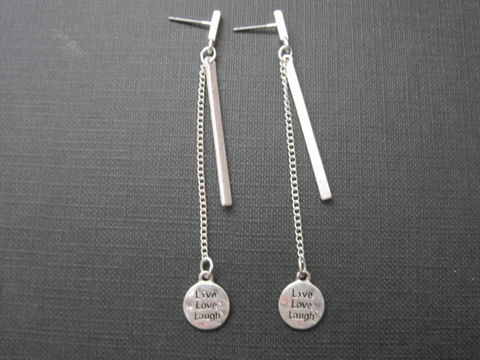 Live,Love,Laugh,Bar,&,Chain,Post,Dangle,Earrings,Live Love Laugh Bar & Chain Post Dangle Earrings