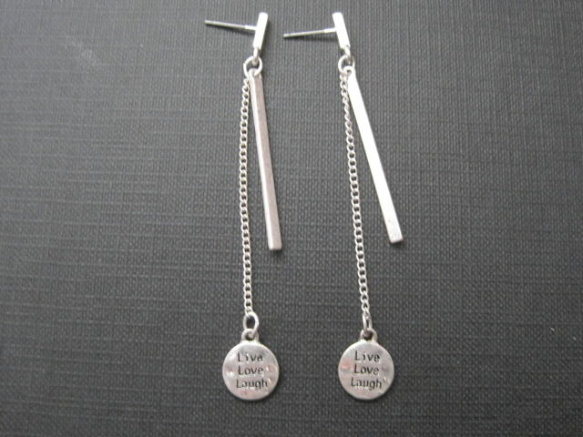 Live Love Laugh Bar & Chain Post Dangle Earrings - product images  of