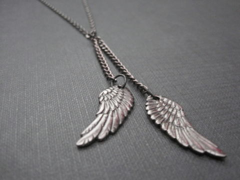 Black,Double,Angel,Wing,Dangle,Necklace,Black Double Angel Wing Dangle Necklace, handmade jewelry, handmade necklace