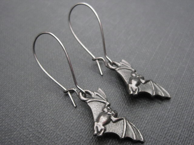Black Bat Goth Dangle Earrings - product images  of