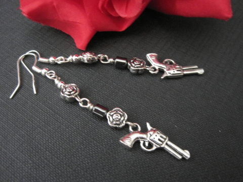 Metal,Rose,and,Gun,Hematite,Dangle,Earrings,Metal Rose and Gun Hematite Dangle Earrings