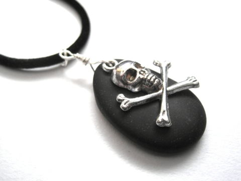 Crossbones,Black,Sea,Glass,Cord,Pirate,Necklace,Crossbones Black Sea Glass Cord Pirate Necklace, skull, crossbones, cultured sea glass, man made sea glass, black