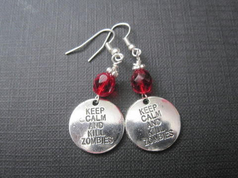 Zombie,Kill,Dangle,Earrings,Zombie Kill Dangle Earrings, apocalypse, handmade jewelry