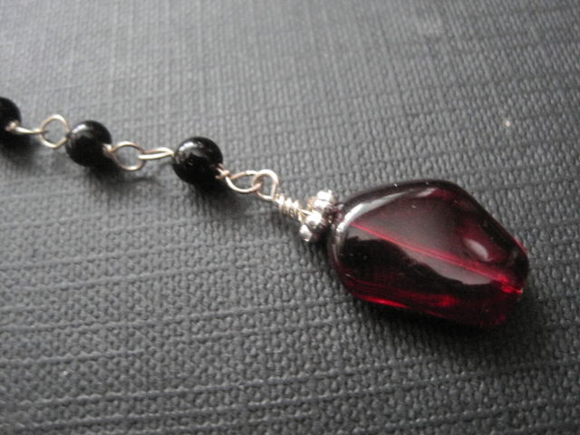 Black Rosary Bead Red Glass Key Necklace - product images  of