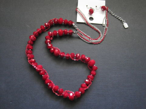 Red,Velvet,Glass,Bead,Chain,Necklace,With,Earrings,Set,Red Velvet Glass Bead Chain Necklace With Earrings Set, Red Beaded Necklace