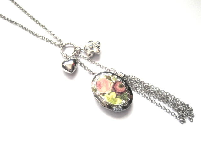 Victorian Floral Tassel Locket Necklace - product images  of