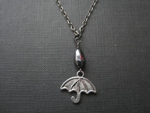 Gloomy,Days,Umbrella,Necklace,Gloomy Days Umbrella Necklace, rainy day necklace, goth necklacem handmade necklace