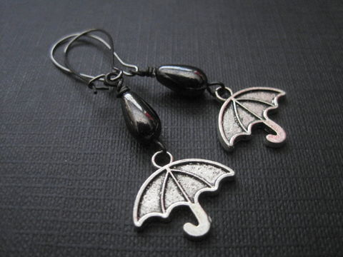 Gloomy,Days,Umbrella,Dangle,Earrings,Gloomy Days Umbrella Dangle Earrings, rainy day earrings, handmade earrings