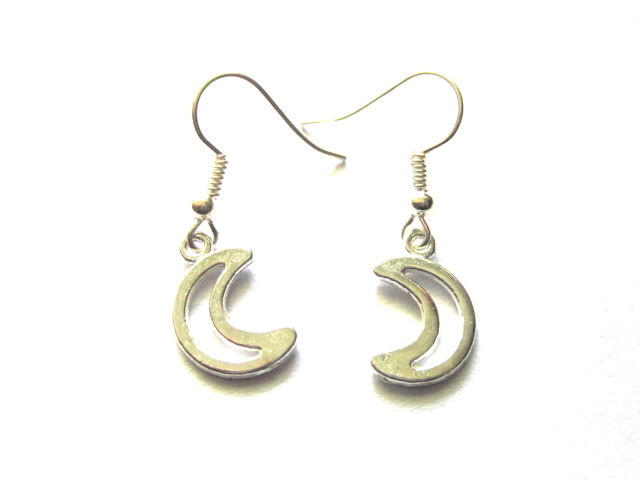 Crescent Moon Openwork Dangle Earrings - product images  of