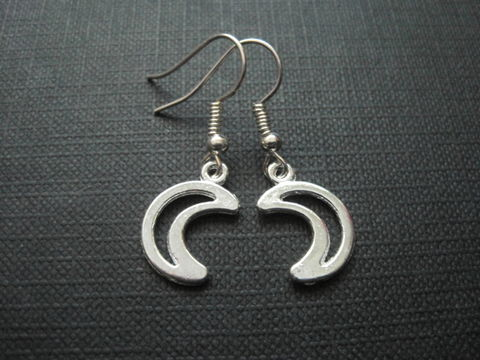 Crescent,Moon,Openwork,Dangle,Earrings,Crescent Moon Openwork Dangle Earrings, celestial earrings, unisex earrings