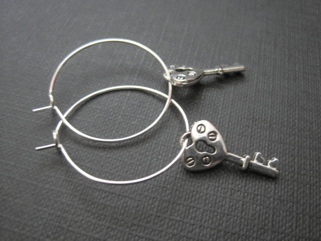 Victorian Heart Key Hoop Earrings - product images  of