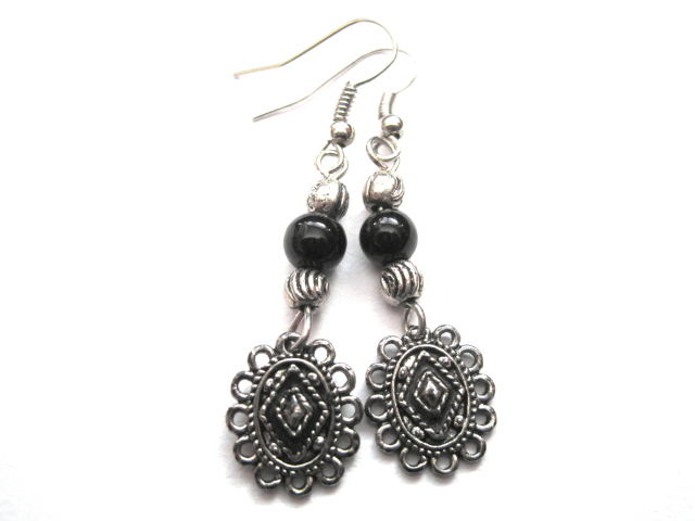 Victorian Metal Cameo Charm Dangle Earrings - product images  of