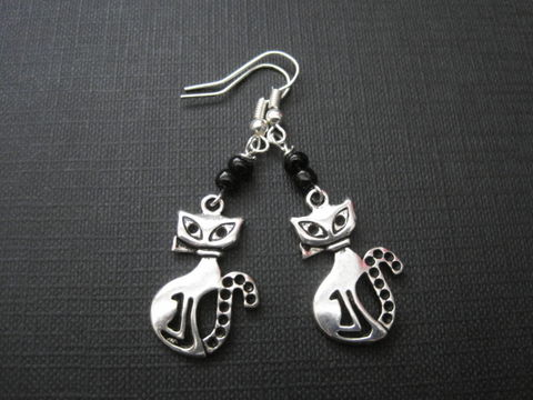 Metal,Cat,Dangle,Earrings,Metal Cat Dangle Earrings, antique silver, handmade jewelry