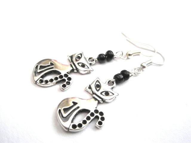 Metal Cat Dangle Earrings - product images  of