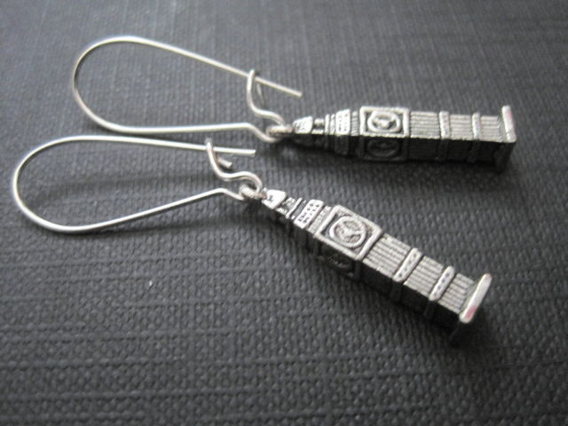 Big Ben Antique Silver Dangle Earrings - product images  of