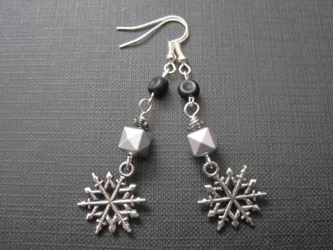 Black,Winter,Snowflake,Dangle,Earrings,Black Winter Snowflake Dangle Earrings, nuclear winter, apocalypse, goth earrings,  handmade jewelry