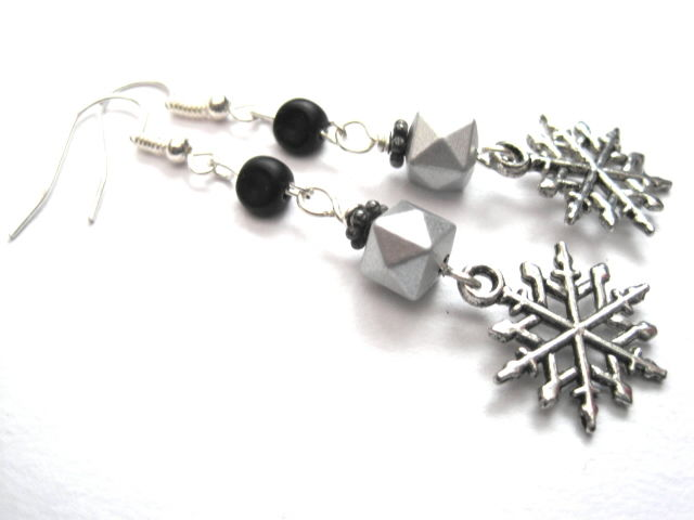 Black Winter Snowflake Dangle Earrings - product images  of