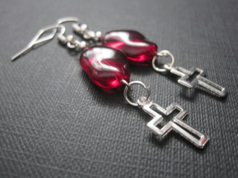 Open,Cross,Red,Glass,Dangle,Earrings,Open Cross Red Glass Dangle Earrings,  handmade jewelry, handmade gothic earrings