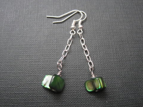Green,Mother,Of,Pearl,Chain,Dangle,Earrings,Green Mother Of Pearl Chain Dangle Earrings, handmade jewelry, beach jewelry, gemstone jewelry