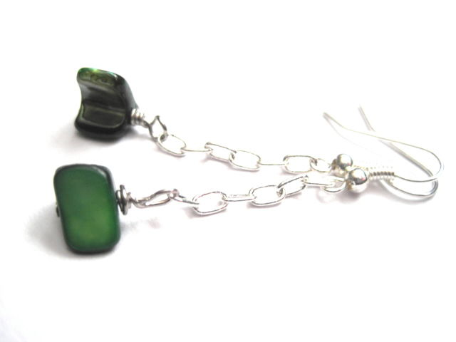 Green Mother Of Pearl Chain Dangle Earrings   - product images  of